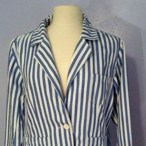Bill Blass Blue and White Striped Jeans Jacket